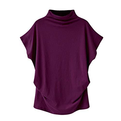 MRULIC Blusen Damen Frauen Rollkragen Pullover Kurzarm Baumwolle Solide Lässige Bluse Top T-Shirt S-6XL(Violett,EU-48/CN-5XL)