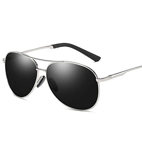 MoHHoM Sonnenbrille,Mode New Classic Polarisierte Sonnenbrillen Herren Retro Sonnenbrille Uv400 Silber Schwarz