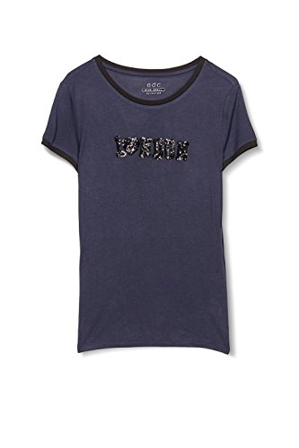 edc by ESPRIT Damen T-Shirt Blau (navy 5 404)