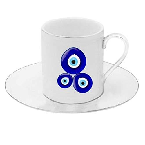 Floral Demitasse (Porzellan Porzellan Espresso Türkischer Kaffee Demitasse 6er Set Tassen + Untertassen (Evil Eye))