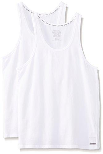 Calvin klein 2ptank, intimo uomo, bianco, medium (taglia produttore:m)(pacco da 2)