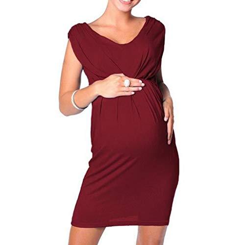 Umstandskleid Sasstaids Umstandsmode Schwangere Frauen ärmelloses, figurbetontes Kleid Sexy Solid Dress (Schwangere Halloween Kostüme)
