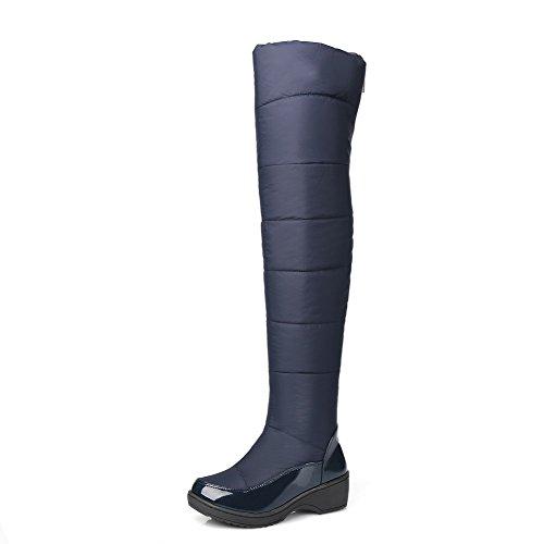 AllhqFashion Damen Mittler Absatz Weiches Material Hoch-Spitze Rein Reißverschluss Stiefel, Rot, 38