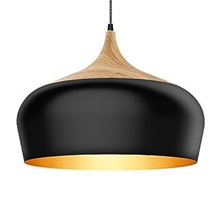 Tomons Lampe de Plafond Noir, Ampoule LED E27 Moderne Câble Nylon pour Maison