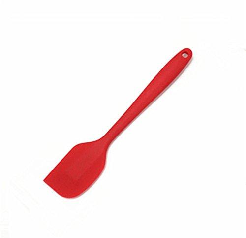 Hosaire 1x Silikonschaber für Kuchenteig, zum Backen, Schaber mit langem Griff (Rot)