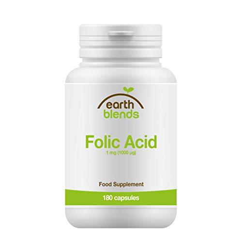 Earth Blends - Ácido fólico 1 mg, nutriente prenatal, 180 cápsulas para adultos