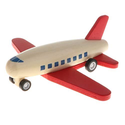 FLAMEER Holz Flugzeug Modellle Spielzeug Motorikspielzeug, Entwicklung der Koordination von Händen und Augen - Roter Flügel