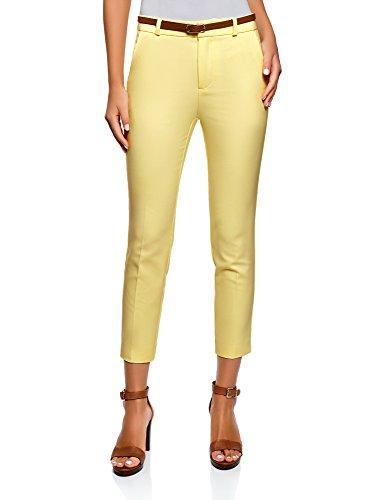 Pantalones amarillos de mujer clásicos con cinturón