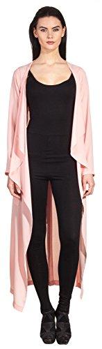 Chiffon Jacke Damen Trenchcoat Kimono Beach Wear Freizeit Pyjama Hausanzug Blazer Mantel Rosa - Mantel Pyjamas