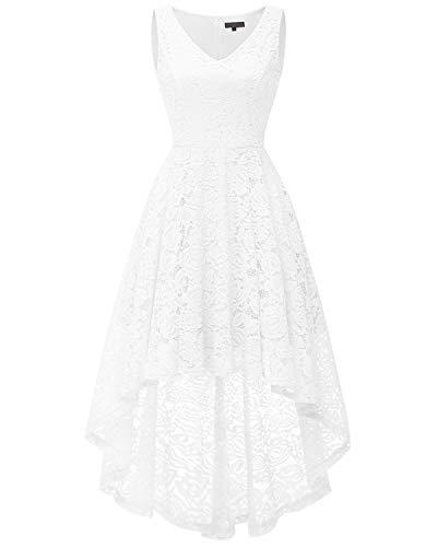 bridesmay Damen Hi-Lo Spitzenkleid Ärmellos Unregelmässig Vokuhila Kleid Cocktailkleider White M