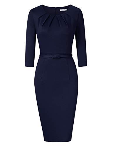 KOJOOIN Damen Etuikleid Business Bodycon Knielang Kleider Langarm Vintage Cocktailkleid mit Gürtel Blau Dunkelblau S