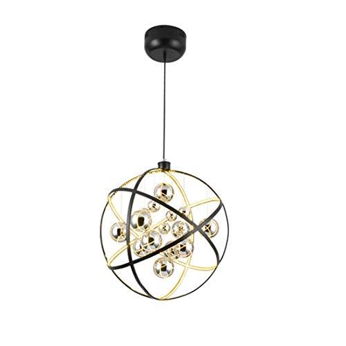 HDDK Kreative Erde Kronleuchter Nordic Mode Design Led Anhänger Deckenleuchte Für Wohnzimmer Restaurant Cafe Home Chrome Glaskugel * 9 Schmiedeeisen Farbe (Farbe : Gelbes Licht-50 cm) -