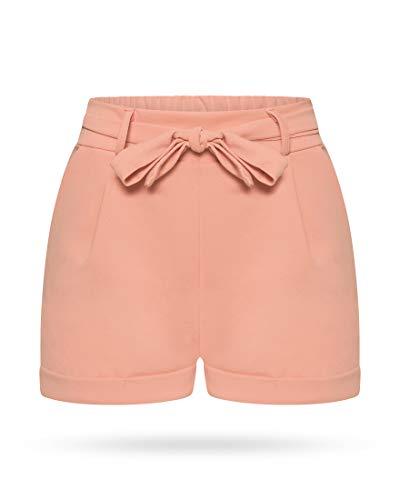 Kendindza Damen Sommer Shorts | Kurze Hose mit Schleife zum binden | Bermuda | Uni-Farben (L/XL, Rosa) (Frau Shorts)