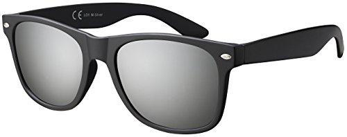 Original La Optica Verspiegelte UV400 Unisex Sonnenbrille Art - Farben, Designs, Doppelpack (Matt Schwarz (Gläser: Silber verspiegelt))