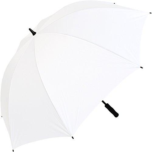 iX-brella Leichter Voll-Fiberglas- Regenschirm für 2 Personen - Größe XXL - sehr stabil - Golfschirm (weiß)