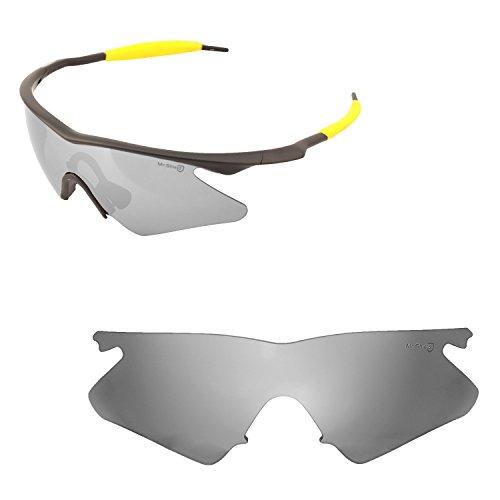 Walleva Ersatz Objektive Oder Objektive mit Schwarz Nosepad für Oakley M Rahmen Heizung-40Optionen erhältlich, Titanium - Mr. Shield Polarized