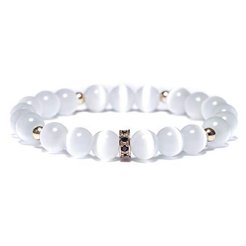 CXKNB Armband Weiß Mondstein Perlen Armband Charme Handgemachte Cz Gepflasterte Elastische Opal Braclet Für Männer Frauen Armband Schmuck Homme (Manschette Mondstein Armband)