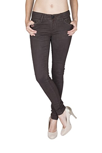 Blue Monkey Damen Skinny Jeans coated Mary-3682 Braun 31/34