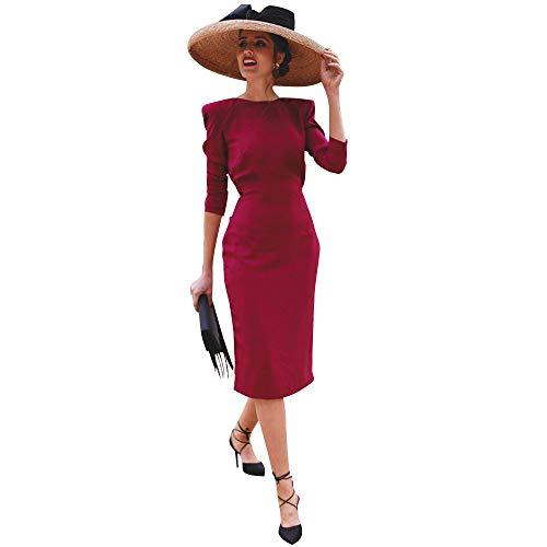 MOIKA Damen Kleider Elegant Rückenfrei Abendkleider Rockabilly Cocktail Bow Bandage Chic Solide...