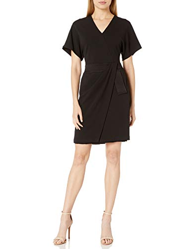 Halston Heritage Damen Faux Wrap Multi Needle Waist Dress Kleid, schwarz, 32 -