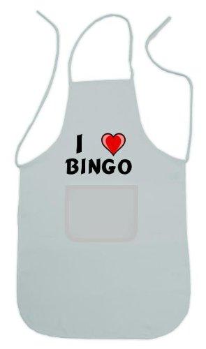 Personalisierte weiße Schürze mit Aufschrift Ich liebe Bingo (Vorname/Zuname/Spitzname)