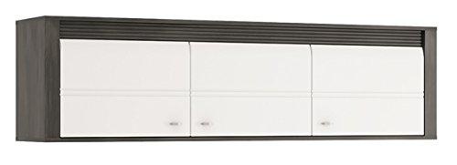 Wohnzimmer komplett 1662022 Wohnwand 4-teilig schwarzkiefer / weiß Hochglanz - 5