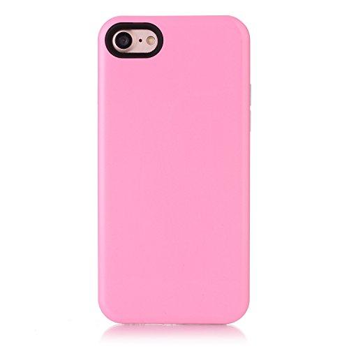 Voguecase Pour Apple iPhone 7 4,7, [TPU+PC]Coque de protection double couche pour Apple iPhone 6/6S 5,5, Absorption des chocs améliorée, Ajustement Parfait Coque Shell Housse Cover (2 in 1-Rouge)+ Gra 2 in 1-Pink