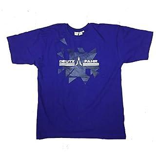 Deutz-Fahr Herren T-Shirt blau, mit abstraktem Muster (L)