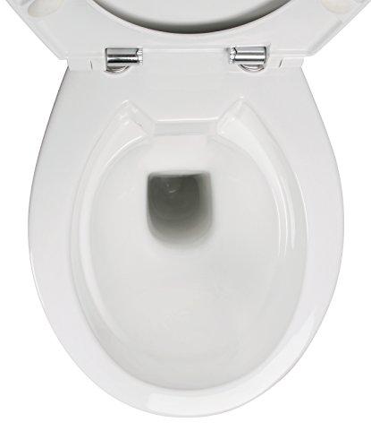 Stand-WC-Set +7 cm | Spülrandlos | Erhöhtes WC | Inklusive WC-Sitz | Für Senioren und große Menschen | Tiefspüler | Abgang waagerecht | Weiß | Spülrandlose Toilette | Spülrandloses WC | Stand-WC | Einfache Reinigung - 6