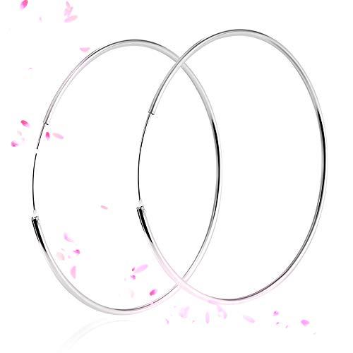 SOSMAR - Creolen silber für Damen aus echt 925 Sterling Silber, große Creolen Hoop Ohrringe für Damen Mädchen - 60mm