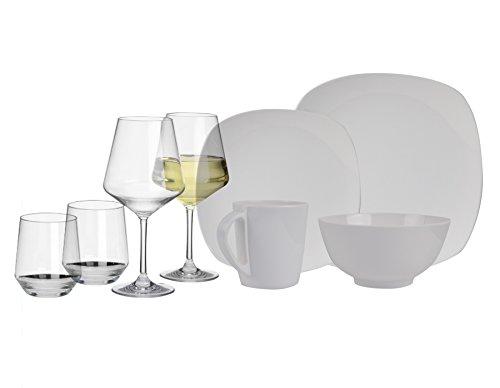 100% Melamin-Geschirr Purely Weiss eckig + Gläser aus…   04260241465402