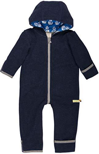 loud + proud Baby Overall aus Dickem, Warmen Bio Woll-Fleece und Bio Baumwolle. Vorne mit Reißverschluss, GOTS Zertifiziert,Navy,50/56 cm
