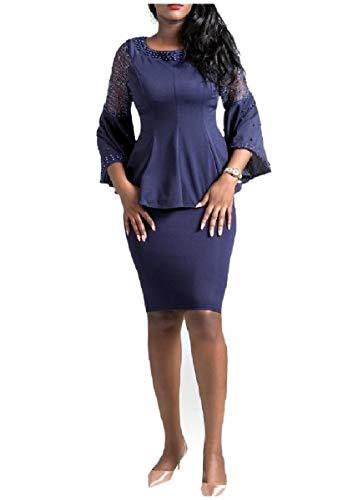 CuteRose Women Bell Sleeve Cocktail Pearl Beaded Business Skirt Suit Dress Navy Blue XL -