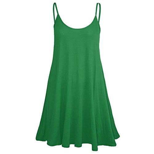Nuovo da donna senza maniche lunga Cami Plain Strappy Swing gilet canottiera Abito Top 8–26 Jade Green