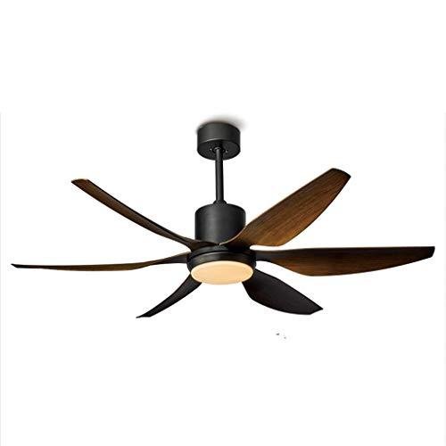 Deckenventilatoren mit Beleuchtung Frequenzumwandlung Deckenventilator Licht 6 Blatt Wohnzimmer Silent Electric Fan 54/66 Zoll Fernbedienung (Color : Black, Größe : 66 inches) (66 Quadratmeter)