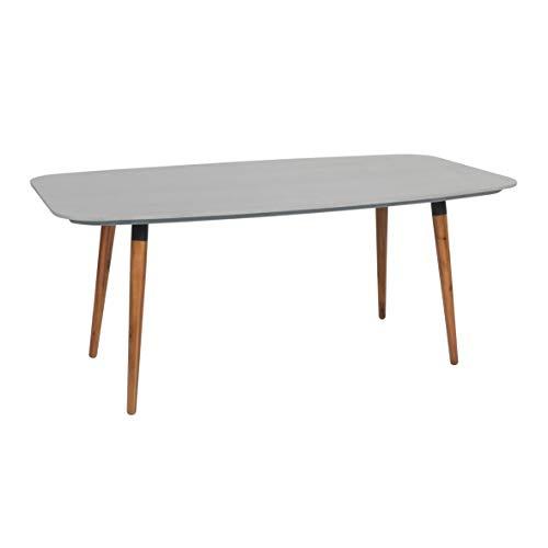 greemotion Table de Jardin Bern 180 x 75 x 95 cm, Table à Manger en Polyciment et Bois d'Acacia 100% FSC, Table Carrée d'Extérieur pour 4-6 Personnes, Gris/ Marron