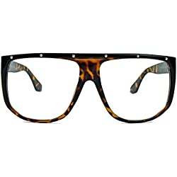 Blogger Style: oversized Nerd Brille 70er 80er Jahre Streberbrille Flat Top Rahmen Klarglas FN16 (Demi Tortoise)