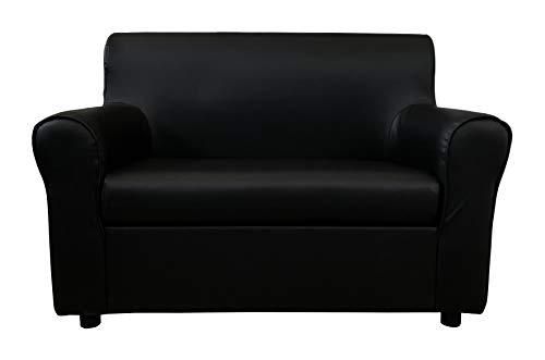 Totò piccinni divano 2 posti imbottito, con braccioli, 129 x 75 x 88 cm (ecopelle, nero)