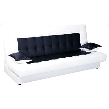 Schlafsofa mit bettkasten weiß  Schlafsofa Funktionssofa Sofa Bett incl. Kissen weiss schwarz mit ...