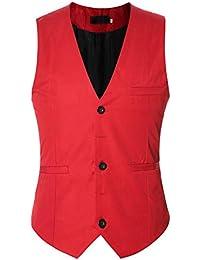 Homme Gilet Costume Causual sans Manches Bouton V-Neck Couleur Unie Veste