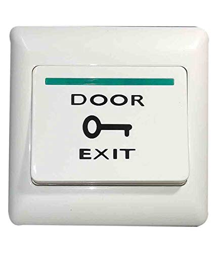 """Calligraphy Plastic 3"""" x 3"""" Door Exit Push Release Button Switch for Standalone/Multi Door Access Control System or Biometric EM Lock Device White"""