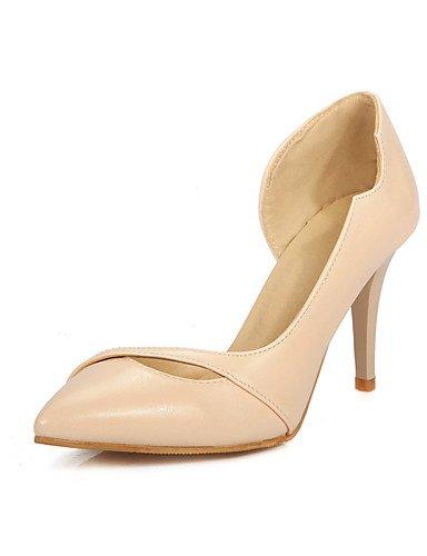 WSS 2016 Chaussures Femme-Habillé-Noir / Blanc / Orange / Amande-Talon Aiguille-Talons / Bout Pointu-Talons-Similicuir black-us8.5 / eu39 / uk6.5 / cn40