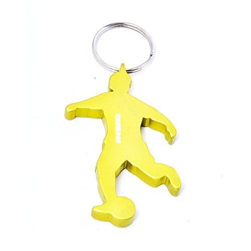 munkees Schlüsselanhänger Fußballer mit Flaschenöffner aus hochwertigem Aluminium, Schlüsselring, Gold, 349028