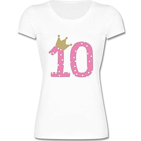 Geburtstag Kind - 10. Geburtstag Krone Mädchen Zehnter - 140 (9-11 Jahre) - Weiß - F288K - Kinder Mädchen T Shirt leicht