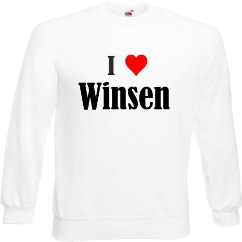 """Sweatshirt""""I Love Winsen""""Größe""""2XL""""Farbe""""Weiss""""Druck""""Schwarz"""