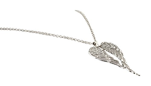 geralin Gioielli long chain woman with silver angel wings vintage pendant