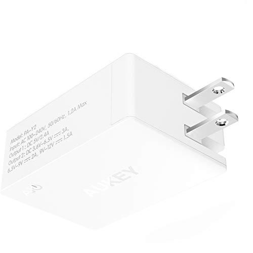 AUKEY Quick Charge 3.0 Caricatore USB da Muro 2 Porte 31,5W 5,4A Caricatore USB, Spina pieghevole, Compatto per iPhone Xs/XS Max/XR, Google Nexus 6P, Pixel 3 Samsung Galaxy S9+ / Note9, LG, ecc.