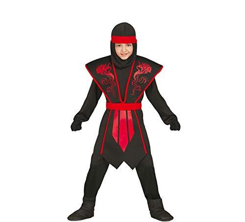 Rote Kostüm Schwarze Und - Guirca Ninja Kostüm Kinder rot schwarz mit schicker Rüstung für Jungen (128/134)