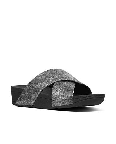 FitFlop Lulu Cross Slide Shimmer-Print, Sandales Bout Ouvert Femme Black (Black Shimmer-Print)