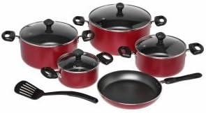طقم ادوات مطبخ من الالمنيوم من 10 قطع، احمر، من بريستيج - PR21700
